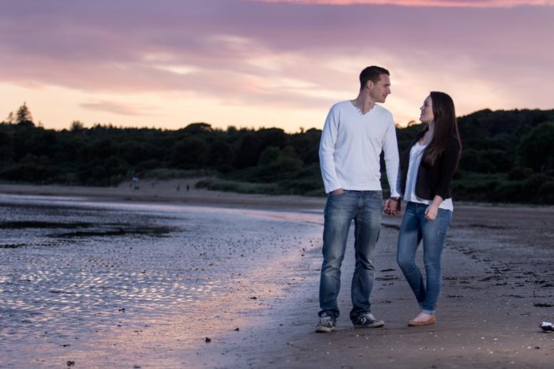 sunset beach engagement photoshoot dumfries