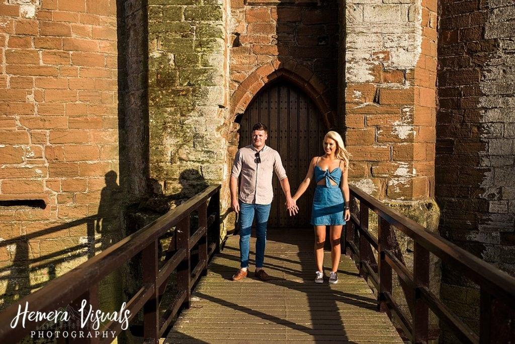Caerlaverock Castle Dumfries holding hands couple