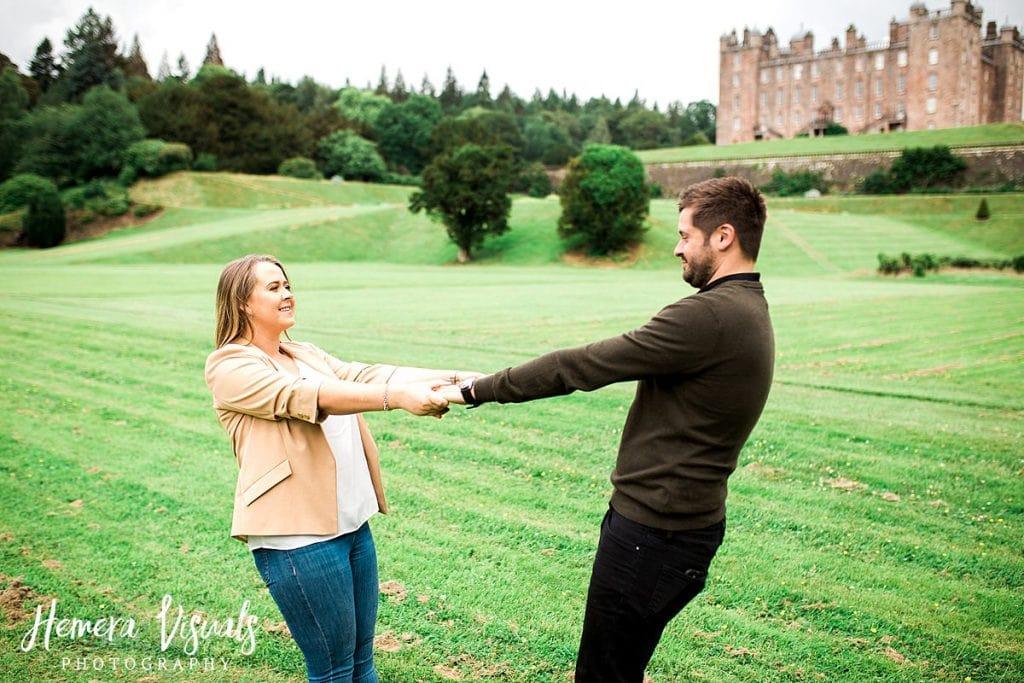 Drumlanrig castle engagement shoot holding hands