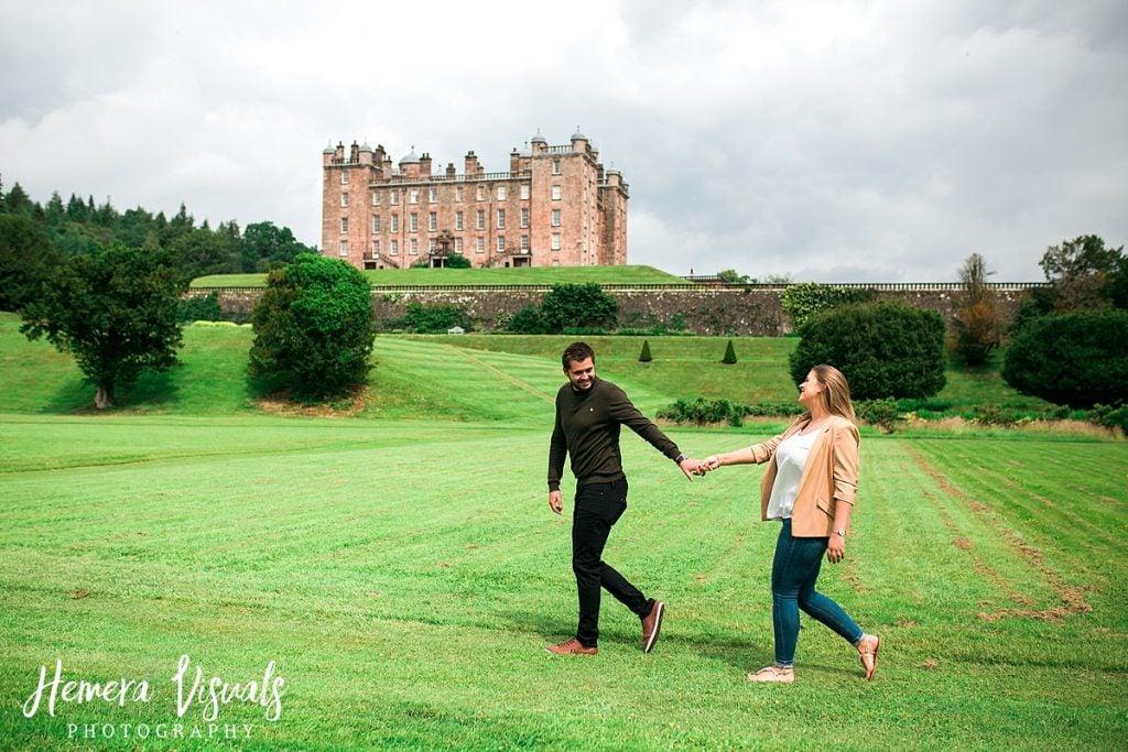 Drumlanrig castle couple walking engagement