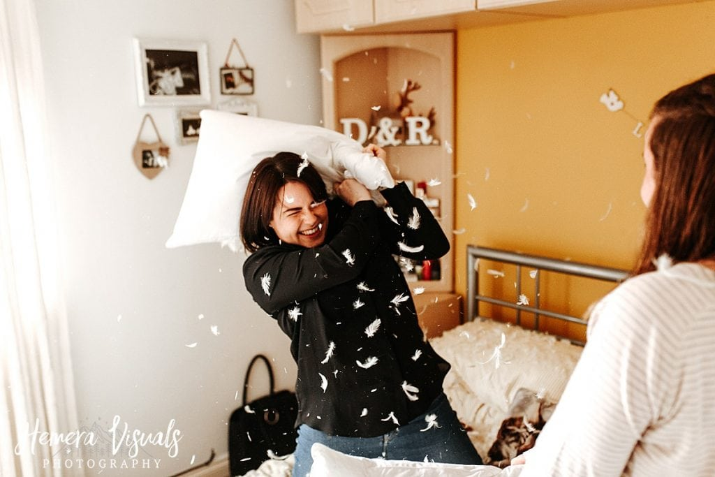 Dumfries Home engagement shoot Couple Pillow fight