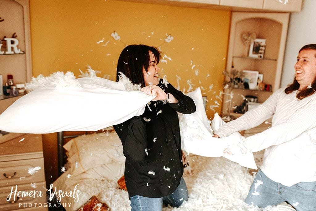 Dumfries engagement shoot Couple pillow fight