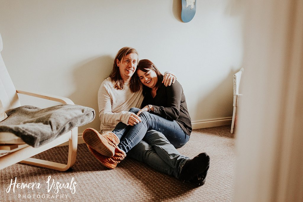 Dumfries Home engagement shoot Couple cuddle