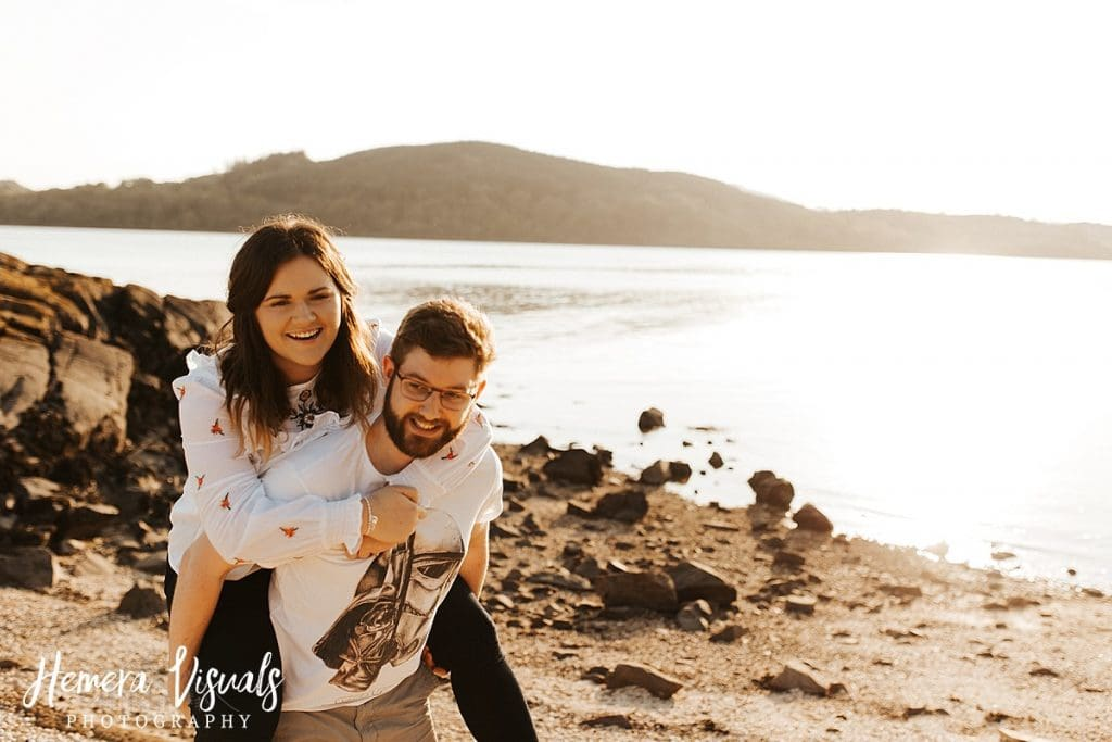 kippford dumfries piggy back engagement shoot