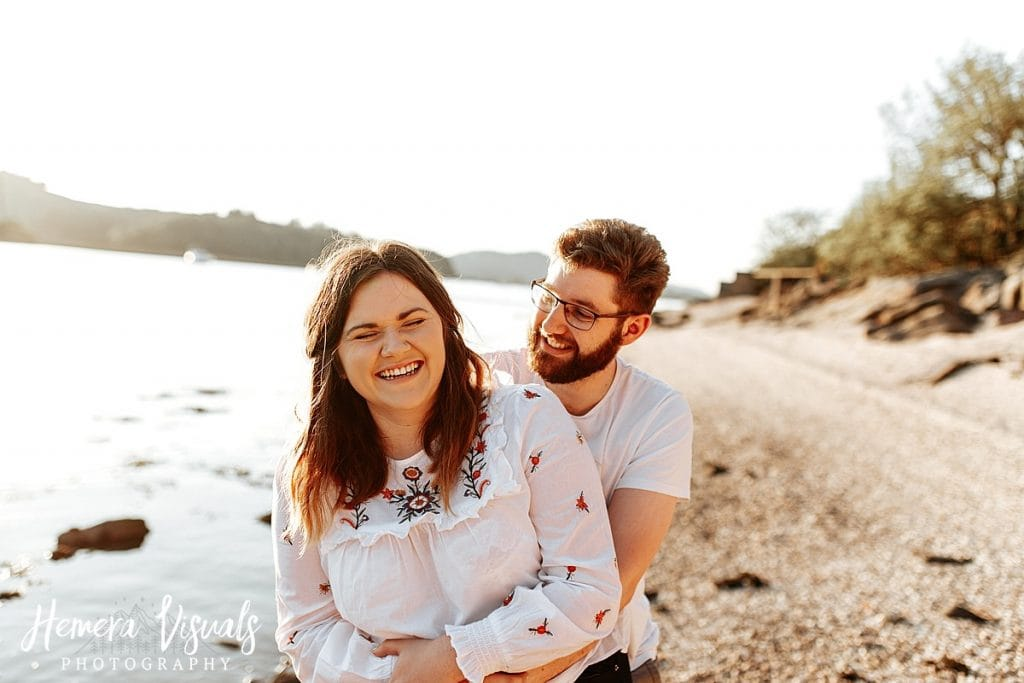 kippford dumfries laughing engagement shoot