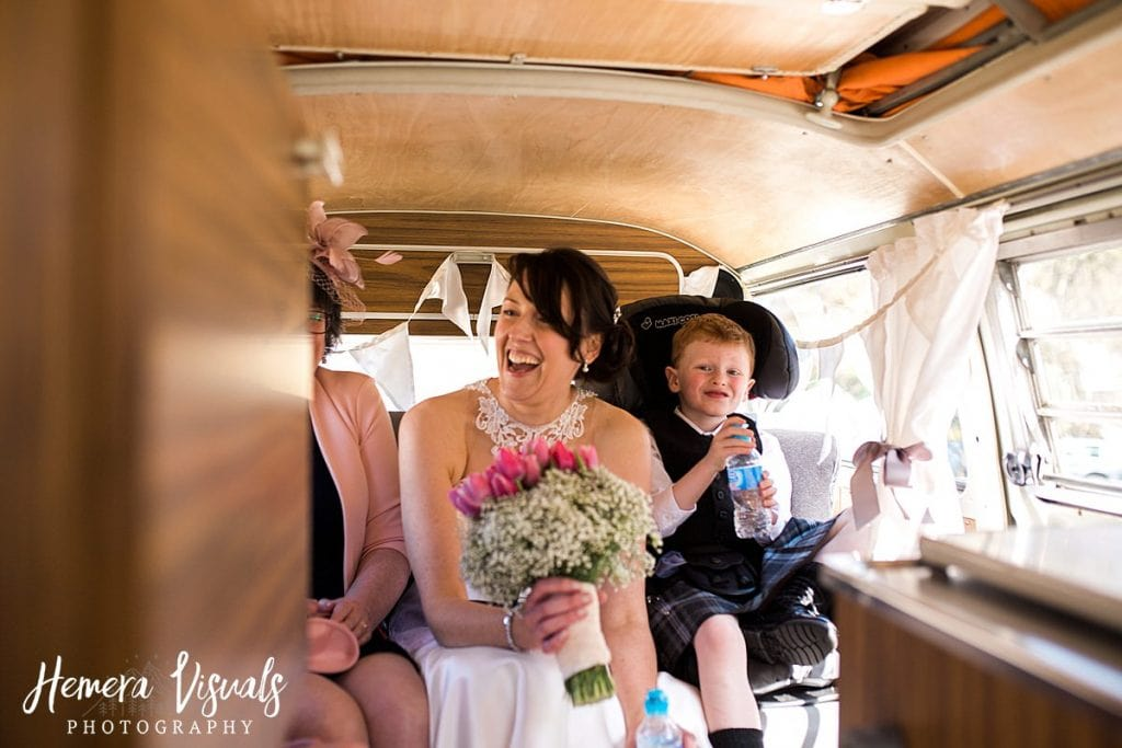 Threave gardens wedding bride vw camper