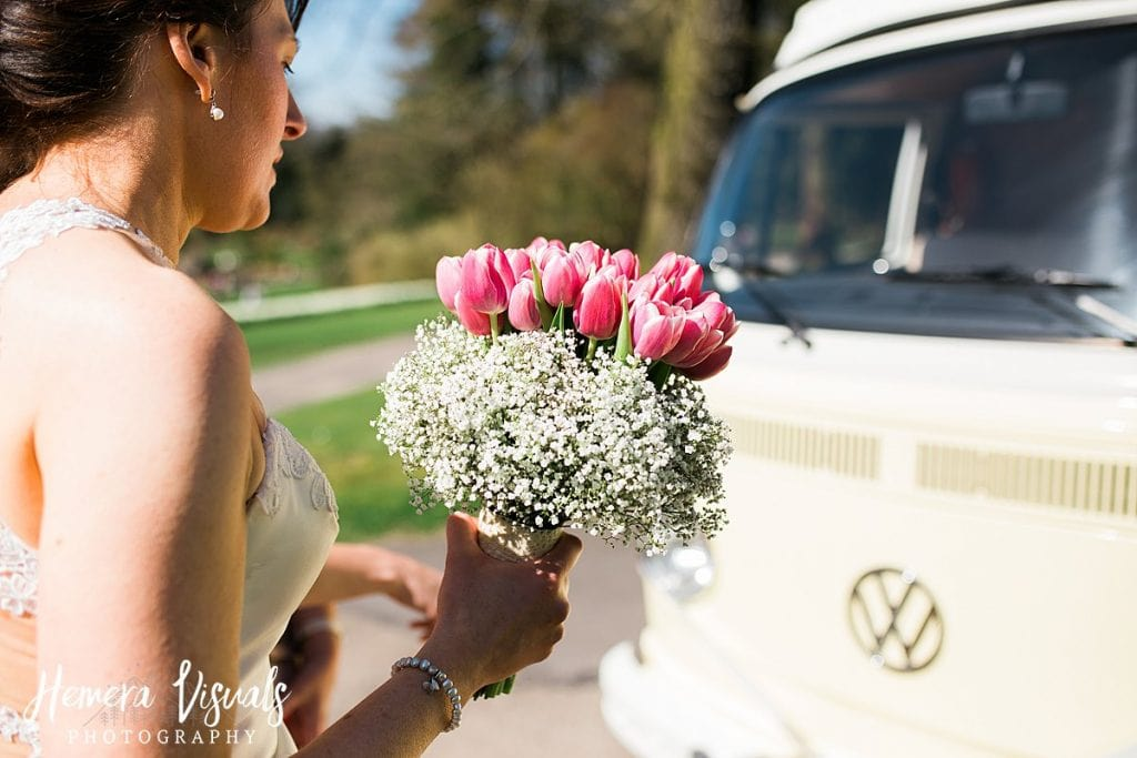 Threave gardens wedding bride vw camper flowers