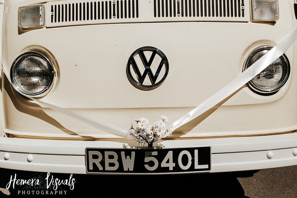 Threave gardens wedding daisy vw camper van