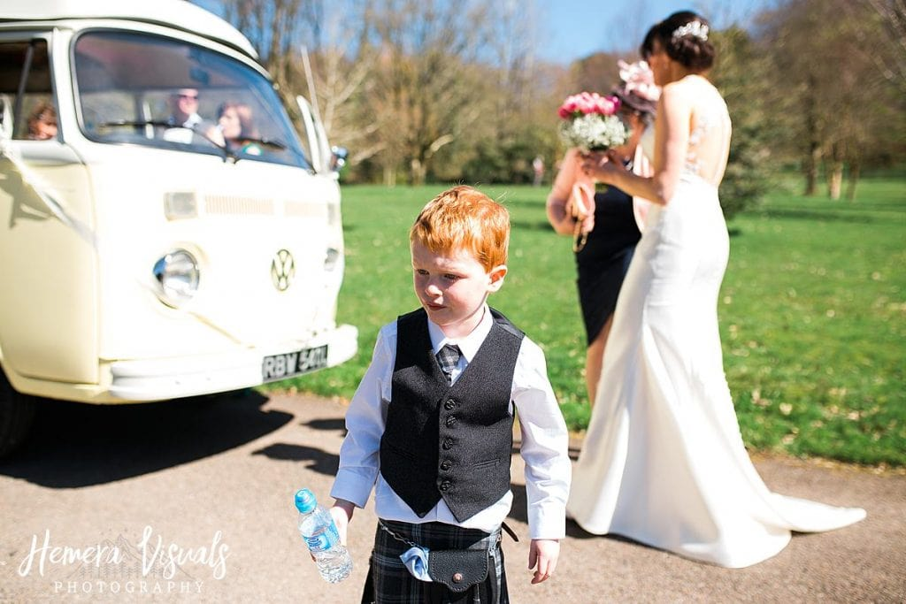 Threave gardens wedding son bride camper