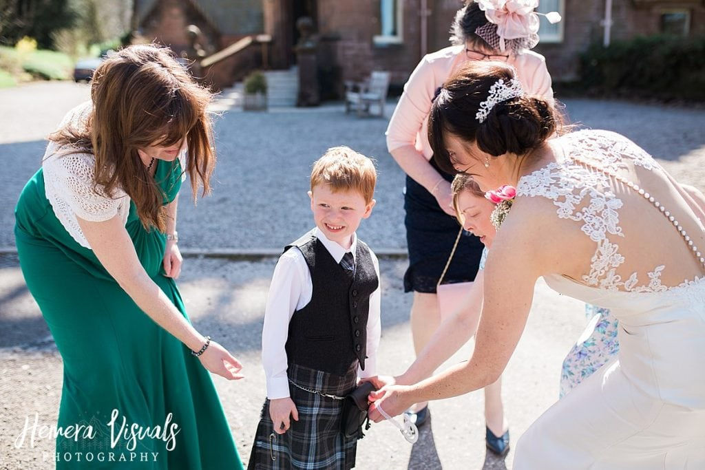 Threave gardens wedding son bride kilt