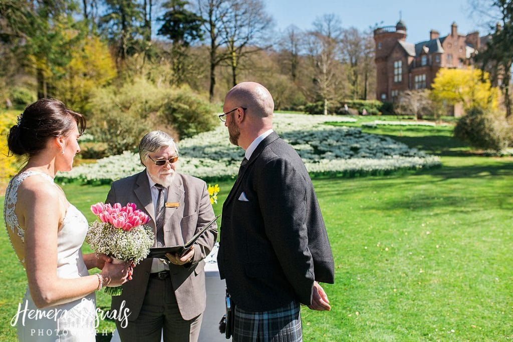 Threave gardens wedding bride groom spring