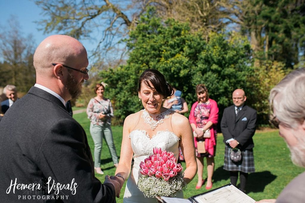Threave gardens wedding castle douglas bride