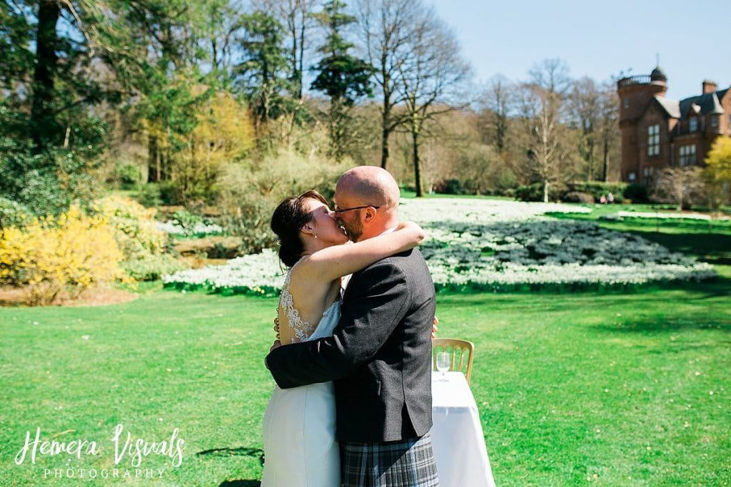 Threave gardens wedding first kiss dumfries