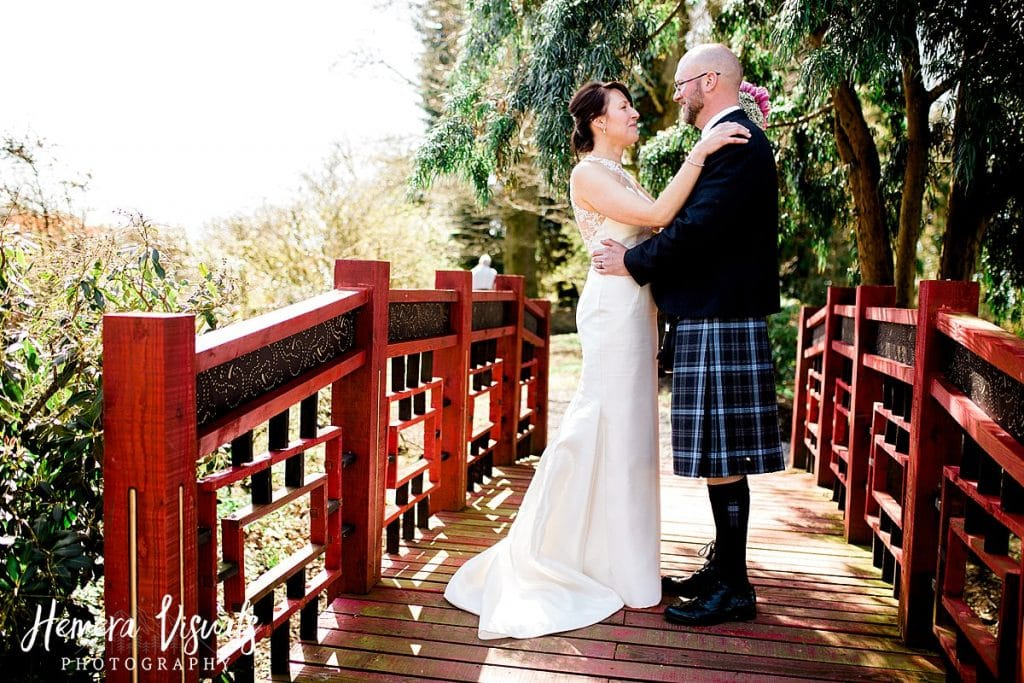 Threave gardens wedding bridge bride groom