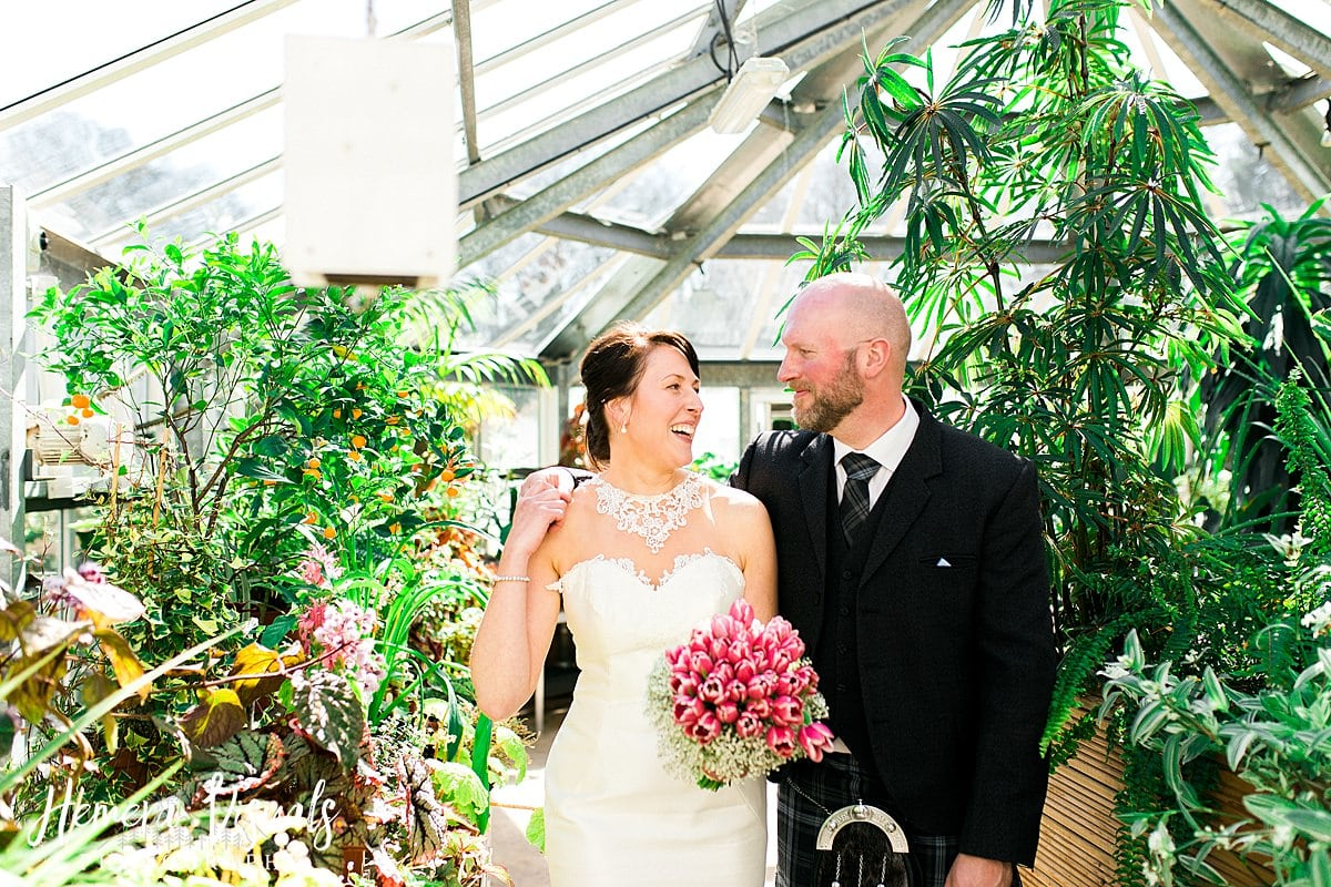 Threave gardens wedding plants bride and groom