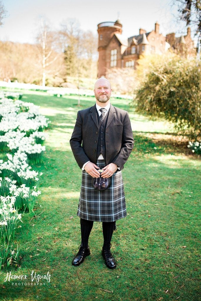 Threave gardens wedding castle douglas dumfries groom