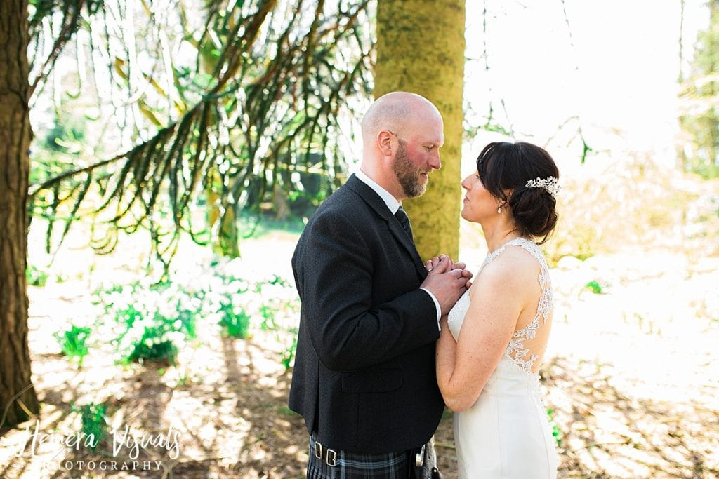 Threave gardens wedding bride groom forest