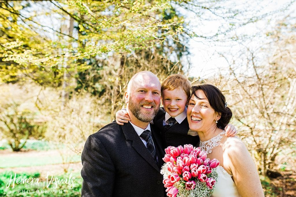 Threave gardens wedding bride groom son family