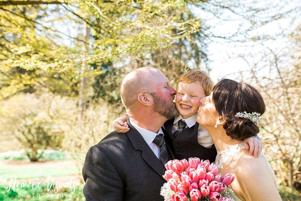 Threave gardens wedding bride groom son