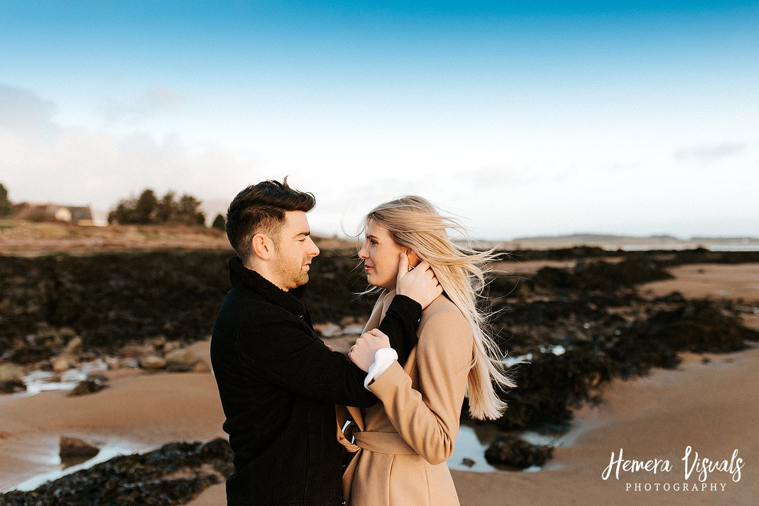 scottish beach engagement session