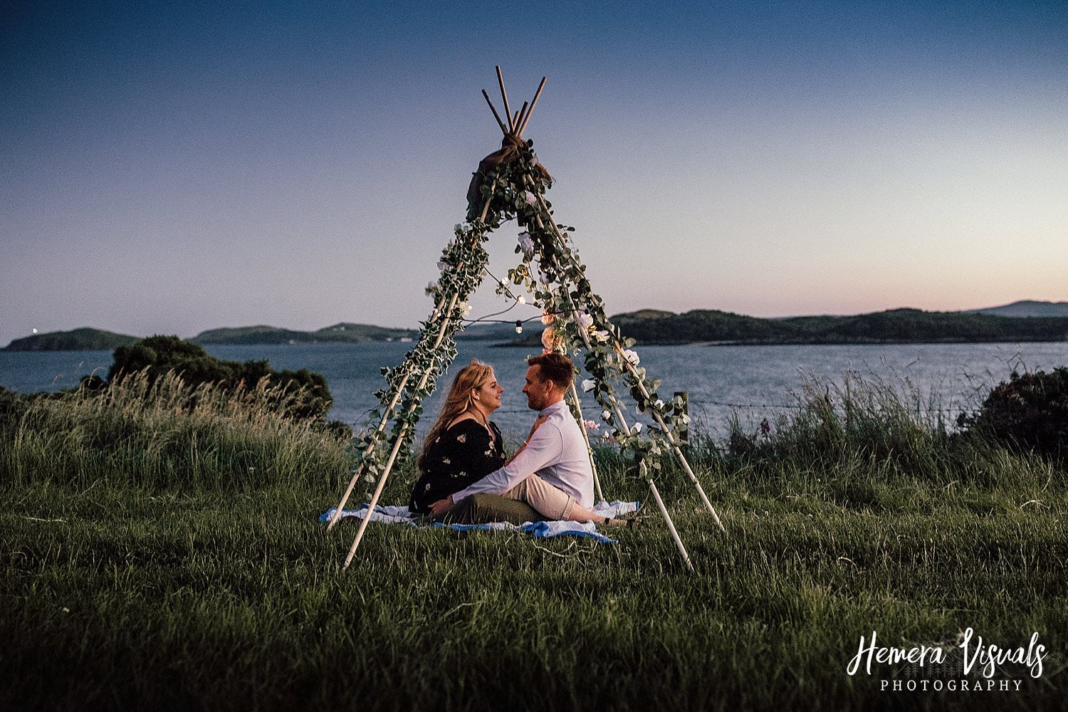 dumfries engagment shoot summer sunset fairy lights teepee